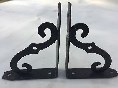 "PAIR.MADE IN ITALY 4"" X 3"" Vintage Antique Iron Scrolled Shelf Support Brackets"