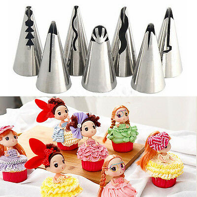 7 pcs/lot  Dolls Dress Korean Bobbi Ruffle Icing Piping Tips Stainless  Da