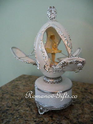 Russian Imperial Ballerina music box Egg plays SWAN LAKE and a   Necklace