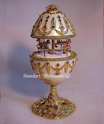Russian Imperial Empress Musical White & Gold Carousel Egg  & matching Necklace