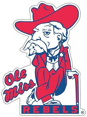 """Ole Miss Colonel Reb Rebels Color Die Cut Decal Sticker - You Choose Size 2""""-38"""""""