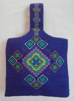 Vintage Deco Style Hand-Made Purple Needlepoint Tapestry Embroidered Hand Bag