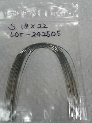 Orthodontic Stainless Steel Rectangular 18 x 22 Upper Arch Wire 25pcs/pack