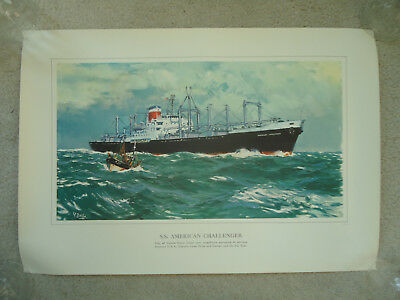 United States Lines - ss American Challenger - Original Print - 1962