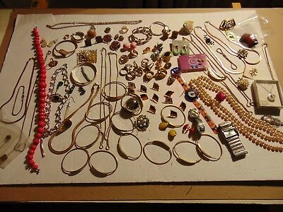 VINTAGE to NOW ESTATE JEWELRY LOT WEAR REPAIR Repurpose Crafts 2.5 LBS