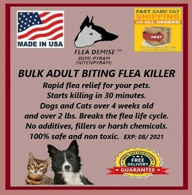 Flea Killer 1000 oral doses 2-12 lbs starts working in 30min any size Dog Cat 6g