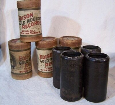 Lot of 4 Antique EDISON Gold Echo & Columbia Phonograph Cylinder Wax Records (c)
