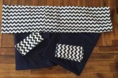 Baby Doll Chevron Window Valance and Curtain Set, Navy/White, Chevron, Pre-owned