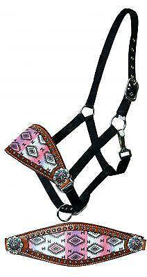 Showman Nylon Bronc Halter with Pastel Navajo Diamond Nose Band! NEW HORSE TACK!