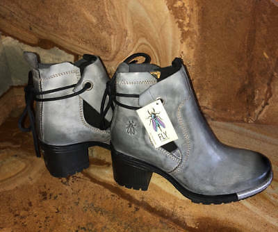 66be4245 New~FLY London Distressed Leather Ankle Boots~Luxe~Gray Anthracite~37~