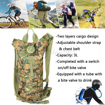 3L Water Bladder Bag Hydration Hiking Climbing Running Backpack Outdoor Military