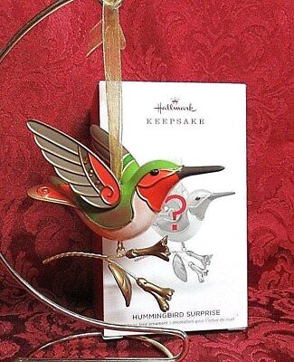 Hallmark 2018 Mystery Repaint Hummingbird Surprise Ornament~Gold & Green