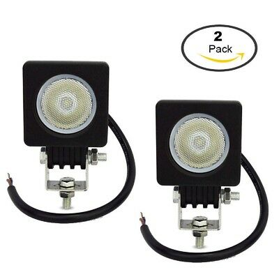 2 Piece 10W LED Work Light Modular Flood High Power Reverse 12V/24V Driving Lamp
