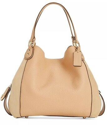 e186662346dd New COACH Edie Shoulder Bag 42 in Mixed Leather suede Beechwood snap 20334
