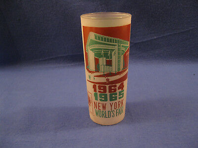 "VNTG 1964 1965 NEW YORK WORLD'S FAIR 6 1/2"" Tall Glass PORT AUTHORITY BUILDING"