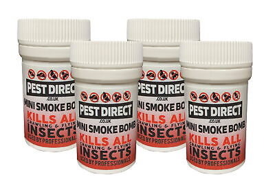 4 x Pest Direct Bed Bug Cockroach Killer Fogger House Room Smoke Fumers