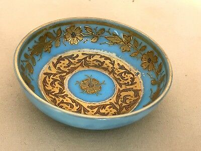 Antique Turquoise Opaline Demi Dish with Raised Gold