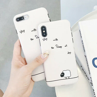 Concise Sheep Cartoon TPU Silicone IMD Phone Case Cover For iPhone X 8 6S 7 Plus
