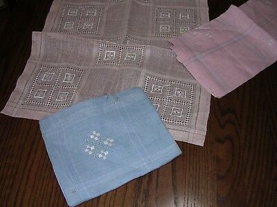#WQ Lot of 3 DIFFERENT VINTAGE LINEN EMBROIDERY, DRAWNWORK PULLED THREAD TOWELS