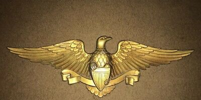"""Vintage Sexton EAGLE Aluminum Wall Plaque Gold Cast Metal Wall Hanging USA 27"""""""