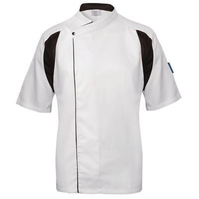Le Chef Staycool Lightweight Executive Tunic White & Black | Unisex Top Short