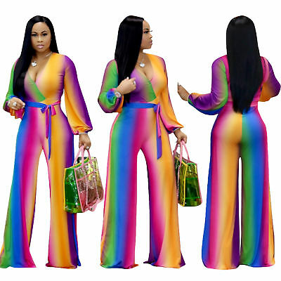 07a02d8f27e Women V Neck Long Sleeve Colorful Gradient Print Jumpsuit Casual Party with  Belt