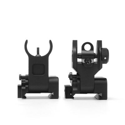 Flip up Front Rear Iron Sight Set BUIS Sights for 20mm Mount Picatinny Rifle US