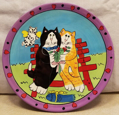 Catzilla Collectable Plate 2002 Candace Reiter Cat Couple With Cupid Fish Gift