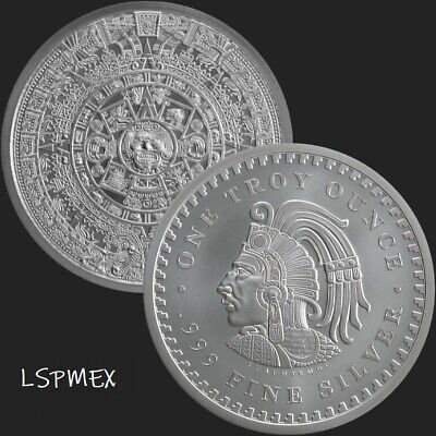 Aztec Calendar - Cuauhtemoc 1 oz .999 Silver USA Made BU Round Very Limited Coin