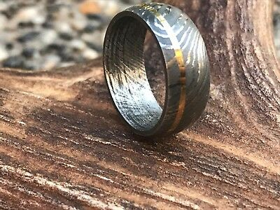 HUNTEX Unique Damascus Ring with Carved Brass Ring Size 8 Mens Jewellery Gift