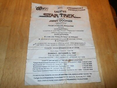 """STAR TREK Retro 1987 Collect.Advertis.Flyer""""Scotty""""Jimmy Doohan Live in Syr., NY"""