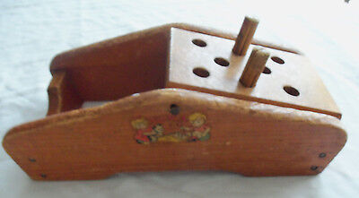 Vintage Noma Wood Toy Peg Driver 2 Pegs No Hammer Flip Top When You Finish One S