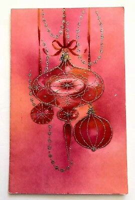 Vintage Christmas Card Mcm Mid Century Pink Ornament Silver Glitter Bow Atomic