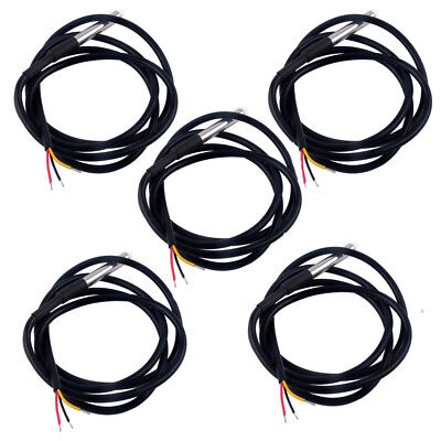 5PCS Waterproof Temperature Probe DS18B20 1M with Heat Resistance Thermal Cable