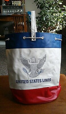 1950's United States Line Cruise Ship Beach Bag Cargo Ship Advertising Display