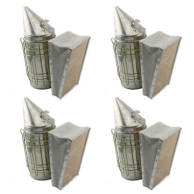 Set of 4 Stainless Bee Hive Smoker Steel w/ Heat Shield Beekeeping Equipment
