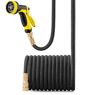 25 50 100 FT Feet Expandable Flexible Garden Water Hose w/ Spray Nozzle Brass TO