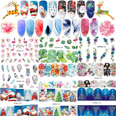 8Sheets Christmas Water Decals Nail Art Transfer Stickers Decoration Tips DIY