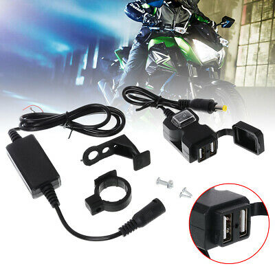 Waterproof Dual USB Motorcycle Handlebar Charger Socket w/ Switch & Mount 12-24V