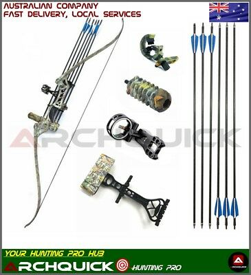 """Archquick Q103 Recurve Bow Set Archery Takedown 60"""" Target & Hunting 30-60lbs"""