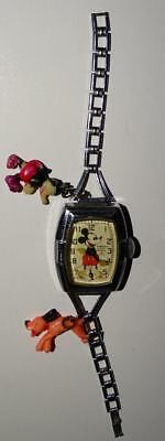 "DISNEY 1937 INGERSOLL MICKEY MOUSE""GIRL'sDELUXE CHARM""WATCH+CHROMED METL BAND-EX"