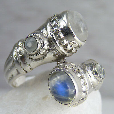 QUAD Gemstone SILVERSARI Ring Size US 7.5 Solid 925 Sterling Silver + MOONSTONE