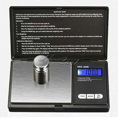 Digital Scale 500g/0.1g Jewelry Gram Silver Gold Coin Pocket Size Herb Grain