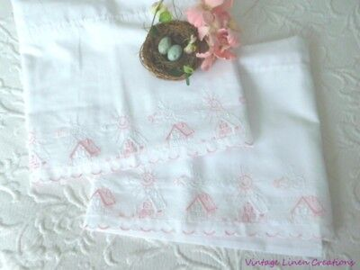 AnTiQuE European BABY CRADLE / BED / CRIB Embroidered LINENS *2 Scalloped SHEETS