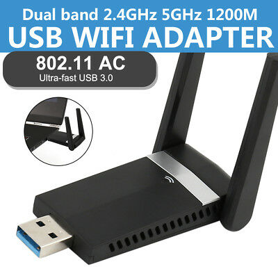 1200Mbps WIFI Dongle Wireless Adapter USB for Laptop PC Dual Band 2.4GHz-5.8GHz