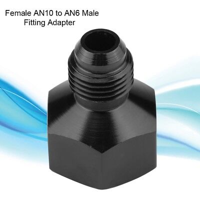 Black AN10 Female to AN6 Male Flare Reducer Fitting Adapter Aluminum Alloy