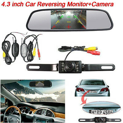 """Wireless IR Rear View Back up Camera System+4.3"""" Monitor For Car Parking 12V"""