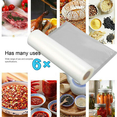 6 X 28Cm Vacuum Sealer Rolls Food Storage Saver Heat Seal Cryovac Commercial Bag