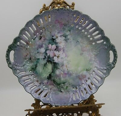 Antique  Limoges France Hand Painted Floral Cake Plate ~ Platter ~ Tray