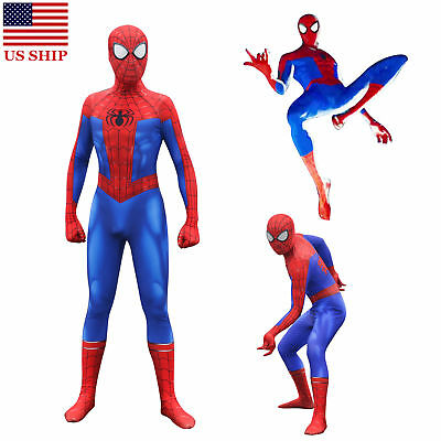 US! Spider-Man Into the Spider-Verse Peter Parker Zentai Cosplay Costume Lycra